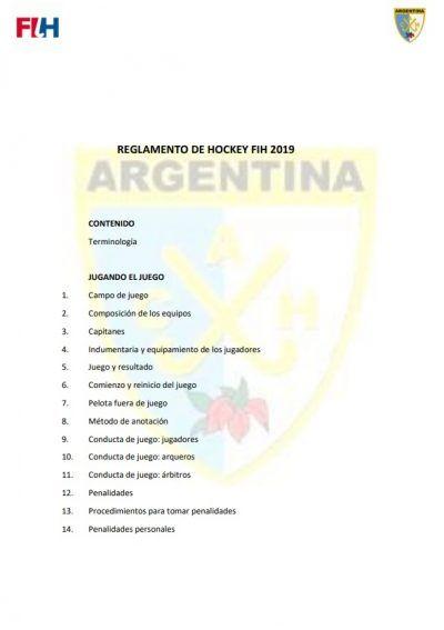 Reglamento de hockey FIH 2019